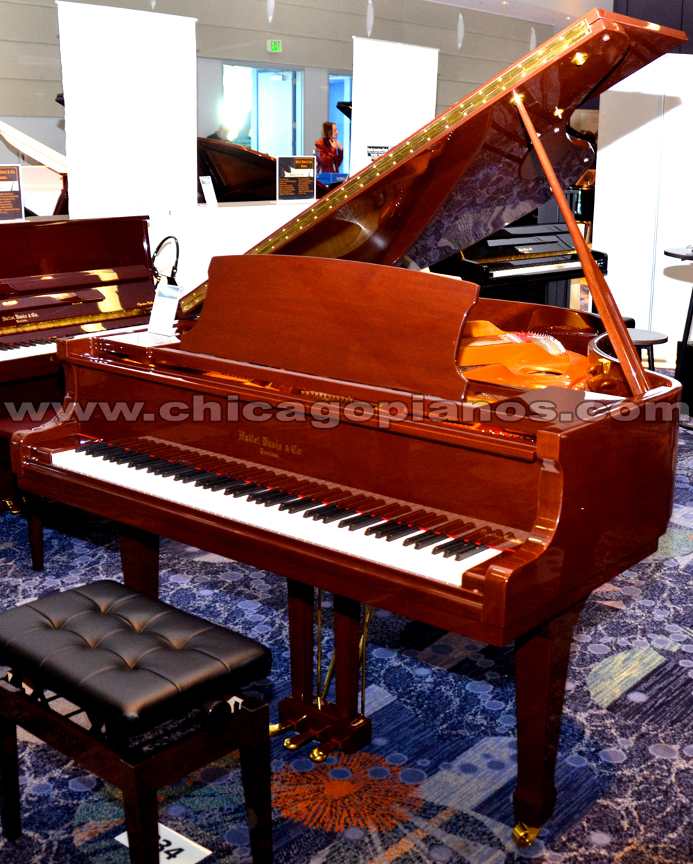 Hallet Davis HS-160 Mahogany Polish Grand Piano